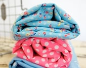 Vintage Blue and Pink Fabric Bundle of Three / 4 2/3 yards Altogether