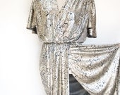 Vintage Metallic Dress by T F  / 1980's / Womens Medium Size Medium or Large