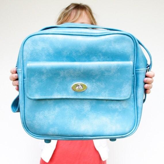 Vintage Aqua Blue Small Carry On Bag