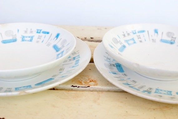 Vintage 1950's Blue Heaven Plate and Bowl Set, Dinner for Two...SALE