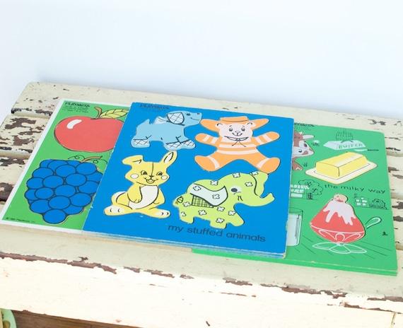 Vintage Wooden Playskool Puzzles, Set of Three
