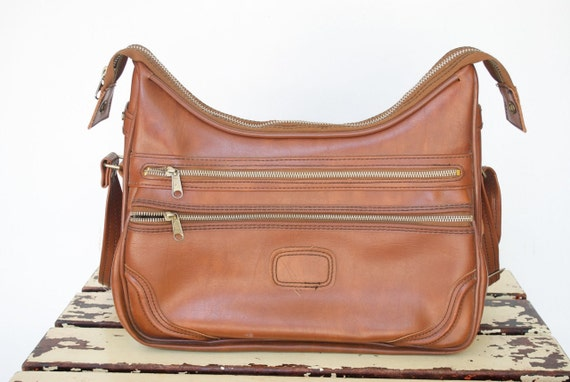 Vintage SEARS 9490 Carry On Luggage in Camel / Messenger Bag / SALE