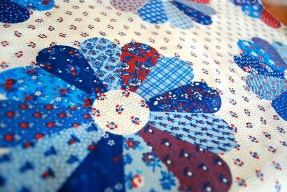 Vintage Fabric Yardage, 2 1/2 yards, The Mod Farm Flower Fabric