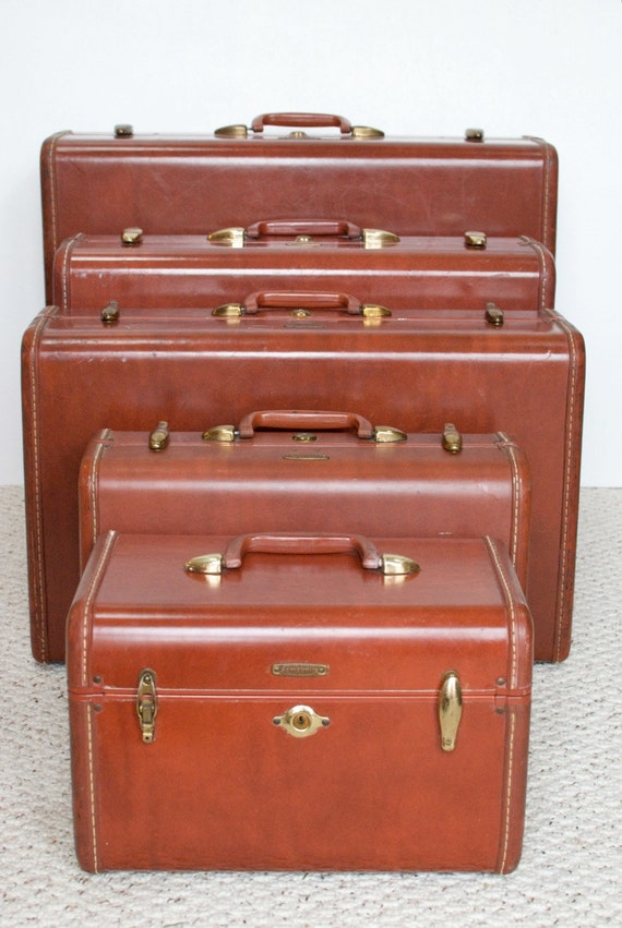 Vintage Samsonite Leather Suitcase Set Of Five