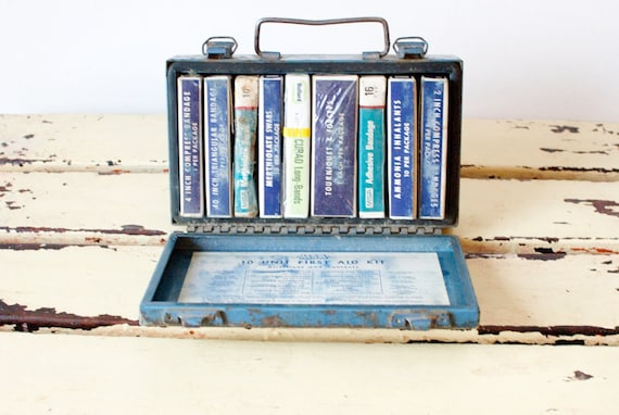 Vintage First Aid-Blue-Doctor-Nurse-Rustic-Metal Box