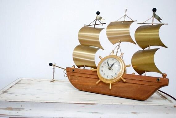 Antique Nautical Sailboat Clock / SALE PRICE REDUCED