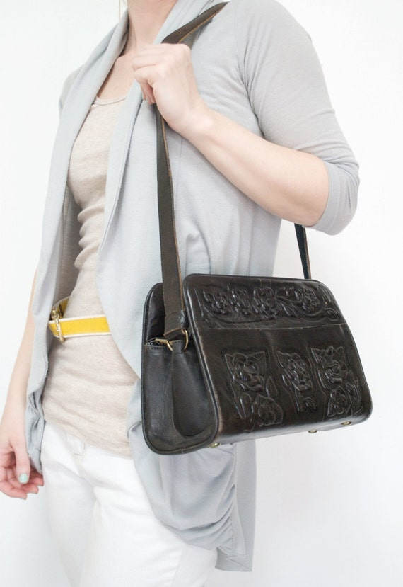 Vintage Hand Tooled Leather Purse by MARAF / Espresso Brown