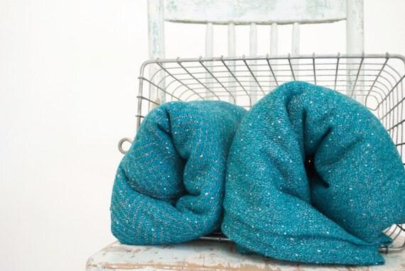 Vintage Fabric Yardage, The Turquoise Wool Fabric Lot