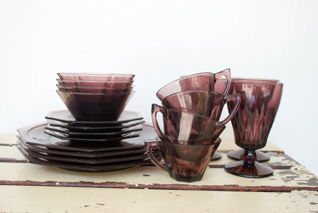 Vintage Purple Glass Octagonal Dinnerware By