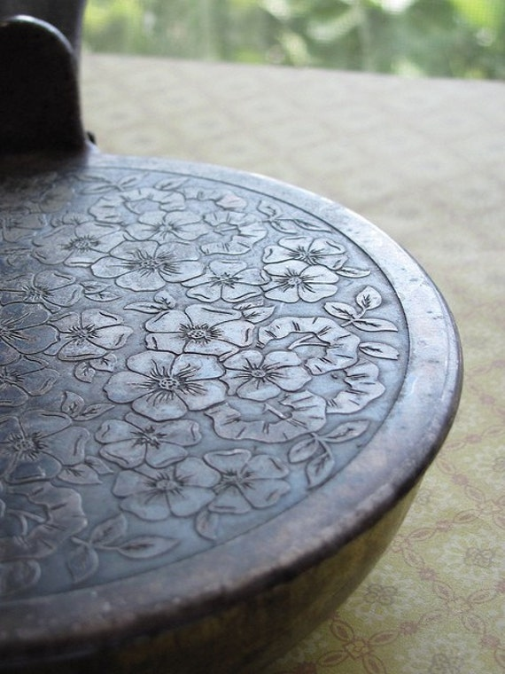 antique metal pan, embossed with flowers, hinged lid, made by grammes