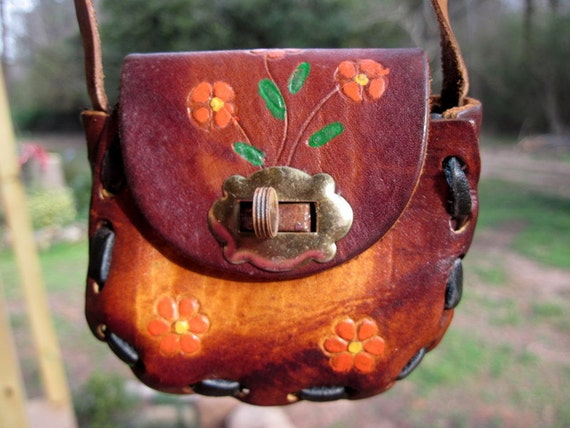 Vintage child's leather purse, bag, pocketbook, Mexico, handpainted, 1950s, red flowers
