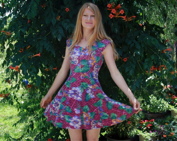 VIOLET HAZE 80s Mini Dress S Size 7