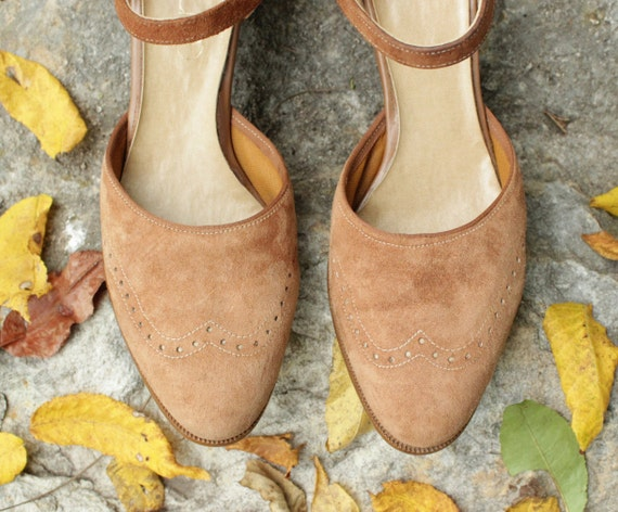 Unique Vintage Leather Shoes Light Brown Tan Perforated Suede Heels Mary Jane by Connie 6 1/2