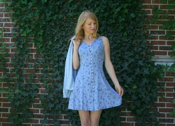 Vintage 80s 90s Mini Dress - Rayon - Blue Floral