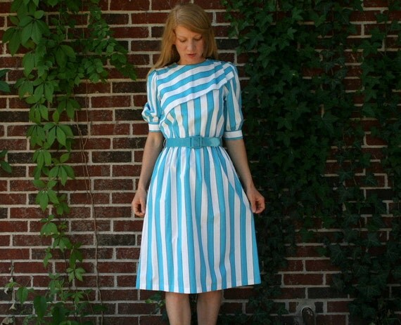Vintage 80's Puff Sleeve Striped Dress S