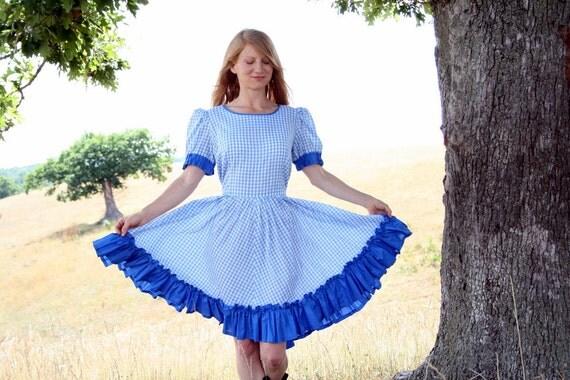 Vintage Rockabilly Folk Square Dance Dress L XL Blue Gingham Ruffles