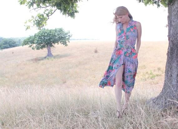 Vintage 90s Dress Long Flowing Colorful Floral . Romantic Boho Hippie Style . Womens Large