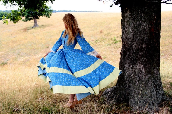 Vintage 1900s Maxi PRAIRIE Dress ML - Romantic - Country Wedding - CALICO Print - full skirt