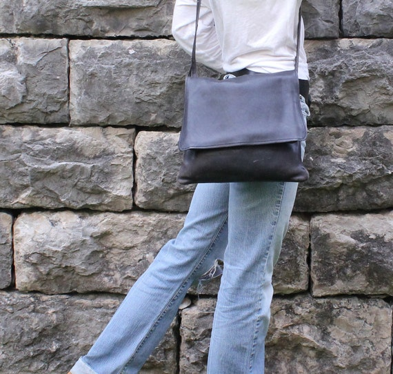 Black Leather Messenger Bag . Cross Body iPad Carrier . Three Large Pouches . Handmade Vintage