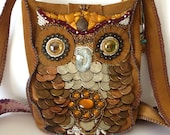 Owl Purse- OOAK Bead Embroidered fuax Suede Bag
