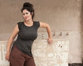 Asymmetrical Gathered Yoga Top with short sleeves , crew neck and side tie -casual women wear