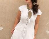 Button Up , White Linen Dress, Dress with pockets
