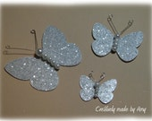 Silver Glitter and Pearl Butterflies