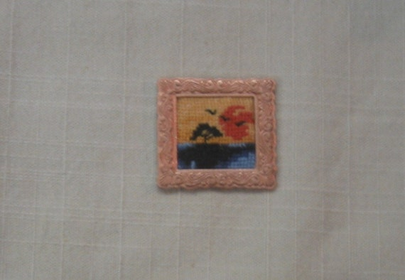 hand stitched dollhouse picture in gold tone frame
