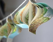 Paper garland - recycled map
