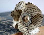 Teacher Gift Idea, Gift for Teacher, Book Brooch, Literary Brooch, Flower Brooch, Rose Corsage