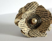 Eco jewelery, for her, flower brooch,  recycled book, corsage, beige pearl
