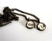 You & I pendant, unique jewellery, love pendant, book jewellery