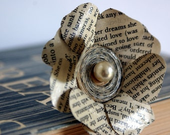 Teacher Gift Idea, Gift for Teacher, Book Brooch, Literary Brooch, Flower Brooch, Rose Corsage
