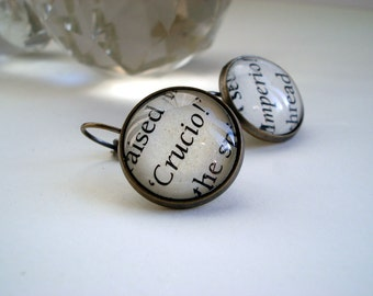 Drop earrings, Harry Potter, recycled book, magic spells