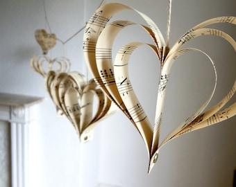 Wedding Decoration, Sheet Music, Rustic Decor, Cream, Paper Garland