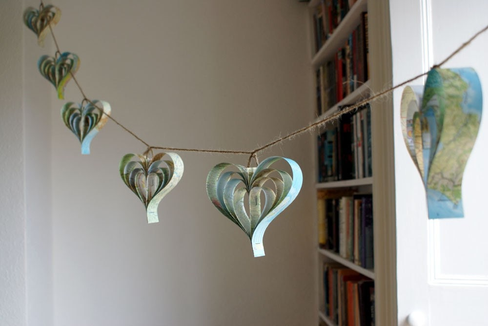Rustic Wedding Decorations Travel Themed Map Garland Heart