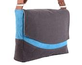Navy and Teal Microsuede Messenger Bag with Tan Batik Lining