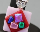 Fused Glass Pendant - Pink and Red with Dichoric Glass