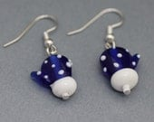 Earrings - Blue Mitten