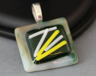 Fused Glass Pendant - Green White and Yellow