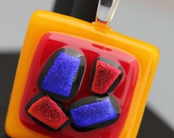 Fused Glass Pendant - Dark Yellow, Red and Blue