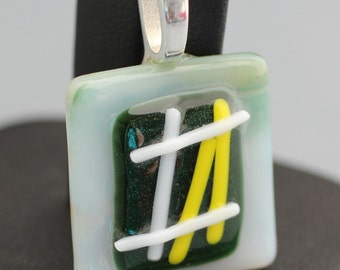 Fused Glass Pendant - Light Green, Dark Green, Yellow and White