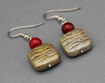 Earrings - Green and Red - Green Opaque Luster and Red Coral Earrings