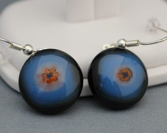 Fused Glass Earrings - Black and Blue Fused Glass Earrings with Flower Center