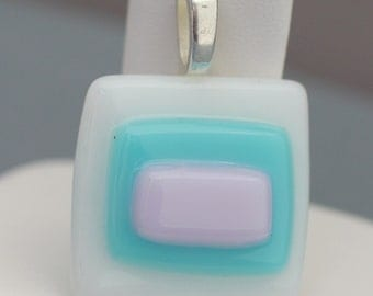 Fused Glass Pendant - White Turquoise and Pink