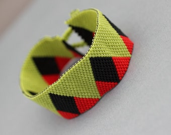 Peyote Cuff Bracelet - Lime Green, Black and Red Peyote