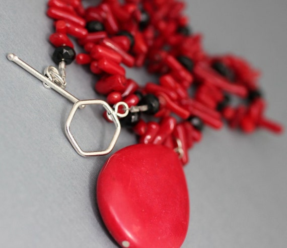 Red Coral Stick Necklace