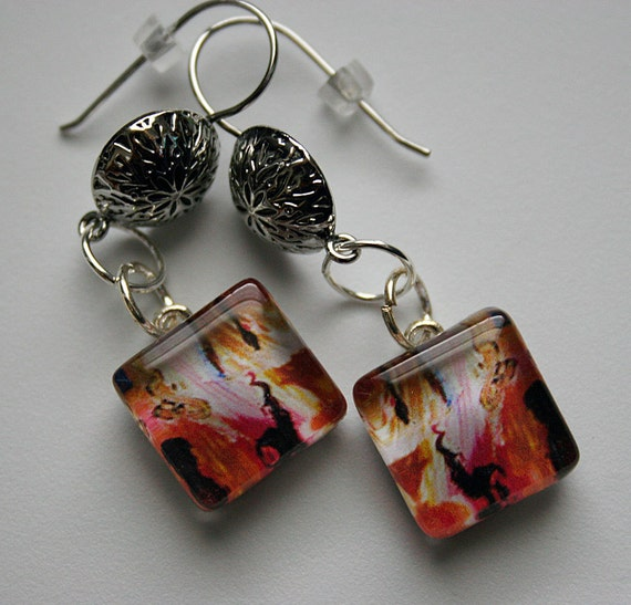 I Will Guide You Handmade Art Glass Dangle French Hook Earrings