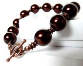 Copper Chocolate- brown pearl bracelet - brown