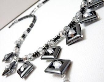 Hematite Sparkle Diamond Necklace - gray